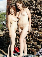 Hairy teen lesbians stay naked in the sun